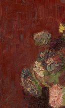 BN Van Gogh 2, 200328 Natur virágos festett kínai őszirózsa bordópiros szines falpanel