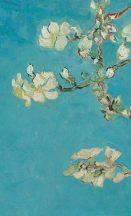 BN Van Gogh 2, 200331 Natur virágos festett ágak bimbók virágok kék árnyalatok szines falpanel