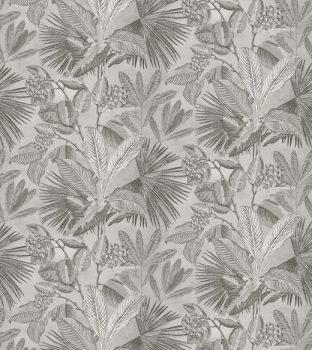 BN Panthera 200355 natur trópusi növények levelek szürke szürkésbézs krém falpanel