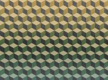 BN Cubiq 200415 FADING CUBE Geometrikus 3D térbeli kockák halmaza vanília zöld sárga kék sötétszürke függőleges színátmenet falpanel