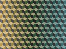BN Cubiq 200416 FADING CUBE Geometrikus 3D térbeli kockák halmaza vanília zöld sárga kék sötétszürke vízszintes színátmenet falpanel