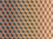 BN Cubiq 200419 FADING CUBE Geometrikus 3D térbeli kockák halmaza rózsaszín vanília sárga narancs szürke sötétszürke vízszintes színátmenet falpanel