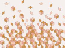 BN Cubiq 200450 FALLING CUBE Geometrikus 3D Hulló - sűrűsödő kockák fehér bézs rózsaszín sárga falpanel