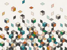 BN Cubiq 200451 FALLING CUBE Geometrikus 3D Hulló - sűrűsödő kockák fehér szines falpanel