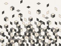 BN Cubiq 200452 FALLING CUBE Geometrikus 3D Hulló - sűrűsödő kockák fehér szürke fekete falpanel