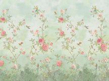 BN Fiore 200457 Rose Garden Natur virágos rózsakert halványzöld zöld rózsaszín szines pasztell árnyalatok digitális falpanel