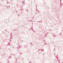 Rasch Open Space 202212 virág és levéltenger pink fehér tapéta