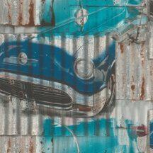 Rasch Kids & Teens III 212402 Gyerekszobai Oldtimer autók rozsdás lemezeken petrolkék szürke rozsdaszín tapéta