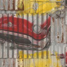 Rasch Kids & Teens III 212419 Gyerekszobai Oldtimer autók rozsdás lemezeken piros sárga szürke tapéta