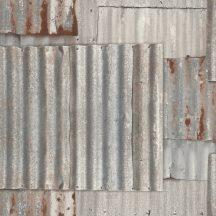 Rasch Kids & Teens III 212600 Gyerekszobai ipari design rozsdás hullámos vaslemezek szürke szürkésbézs rozsdabarna tapéta