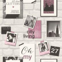 Rasch Kids & Teens III 212709 Gyerekszobai kollázs téglafal alapon csillogó New Yorki emlékképek szürke fekete fehér rózsaszín pink tapéta