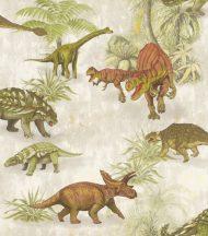 Rasch Kids & Teens III 212808 Gyerekszobai dinoszauruszok az őserdőben szürke szürkésfehér zöld szines tapéta
