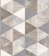 Geometrikus háromszögek famintás alapon fehér bézs barna szürke szürkéskék tapéta