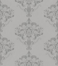 Rasch Sansa 214802 Klasszikus barokk mintázat szürke ezüst fényes mintafelület tapéta