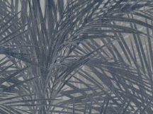 BN ZEN 218745 PALM LUST Natur trópusi nagyméretű pálmalavelek szürke szürkésbarna kék tapéta