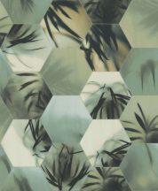 BN Finesse Dimensions 219570 trópusi geometrikus zöld fehér kék rézszín tapéta