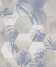 BN Finesse Dimensions 219573 trópusi geometrikus krémfehér bézs kék ezüst tapéta