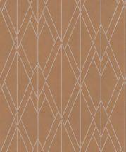 BN Finesse 219714  Art Deco geometikus grafikus terrakotta rézszín ezüst tapéta