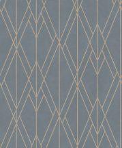BN Finesse 219716  Art Deco geometikus grafikus kék szürke rézszín tapéta