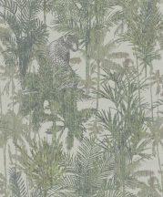 BN Panthera 220100 botanikus trópusi növények vadállatok ecru zöld sötétzöld tapéta