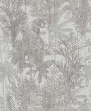 BN Panthera 220101  botanikus trópusi növények vadállatok szürke bézs szürkésbarna tapéta