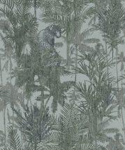 BN Panthera 220103  botanikus trópusi növények vadállatok zöld szürkészöld sötétzöld tapéta