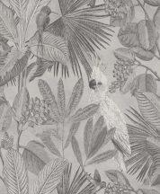 BN Panthera 220120  botanikus trópusi növények madarak szürke árnyalatok fehér tapéta