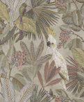 BN Panthera 220121  botanikus trópusi növények madarak bézs szürke szines tapéta