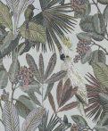 BN Panthera 220122  botanikus trópusi növények madarak világoskék szines tapéta