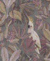 BN Panthera 220123  botanikus trópusi növények madarak sötétszürke bordó/mályva szines tapéta