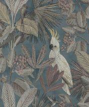 BN Panthera 220124  botanikus trópusi növények madarak kék zöld szines tapéta