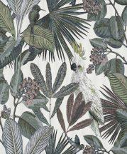 BN Panthera 220125  botanikus trópusi növények madarak fehér szines tapéta