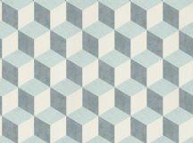 BN Cubiq 220360 Geometrikus 3D térbeli kockák halmaza krém szürke zöldeskék tapéta