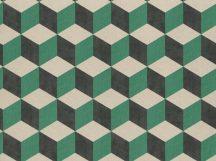 BN Cubiq 220364 Geometrikus 3D térbeli kockák halmaza bézs zöld fekete tapéta