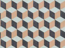 BN Cubiq 220365 Geometrikus 3D térbeli kockák halmaza világoskék sárga/narancs antracit tapéta