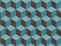 BN Cubiq 220366 Geometrikus 3D térbeli kockák halmaza kék türkizkék fekete tapéta