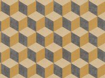BN Cubiq 220367 Geometrikus 3D térbeli kockák halmaza vaníliasárga sárga sötétszürke tapéta