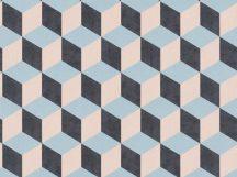 BN Cubiq 220368 Geometrikus 3D térbeli kockák halmaza kék rózsaszín fekete tapéta