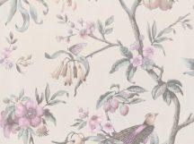 BN Fiore 220440 Natur virágos ágakon ülő madarak krémfehér szürkésbarna rózsaszín szines tapéta