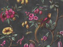 BN Fiore 220441 Natur virágos ágakon ülő madarak sötétszürke/antracit magenta sárga szines tapéta