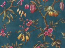 BN Fiore 220443 Natur virágos ágakon ülő madarak sötét petrolkék magenta/pink sárga szines tapéta