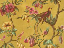 BN Fiore 220444 Natur virágos ágakon ülő madarak aranysárga magenta/pink szines tapéta
