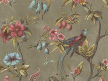 BN Fiore 220445 Natur virágos ágakon ülő madarak szürkésbarna magenta/pink szines tapéta
