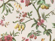 BN Fiore 220446 Natur virágos ágakon ülő madarak fehér magenta/rózsaszín sárga szines tapéta