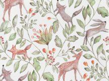 BN Doodleedo 220700 CATCH ME IF YOU CAN Gyerekszobai erdei állatok sűrű növényzetben fehér zöld barna szürke tapéta