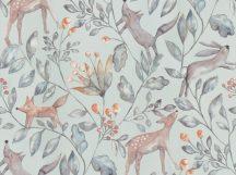 BN Doodleedo 220701 CATCH ME IF YOU CAN Gyerekszobai erdei állatok sűrű növényzetben szürke szürkészöld ezüst barna tapéta