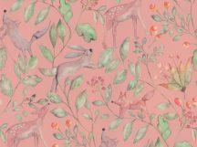 BN Doodleedo 220702 CATCH ME IF YOU CAN Gyerekszobai erdei állatok sűrű növényzetben rózsaszín/pink zöld barna tapéta