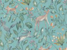 BN Doodleedo 220703 CATCH ME IF YOU CAN Gyerekszobai erdei állatok sűrű növényzetben kék zöldeskék zöld barna tapéta