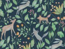 BN Doodleedo 220704 CATCH ME IF YOU CAN Gyerekszobai erdei állatok sűrű növényzetben éjkék barna szürke zöld tapéta