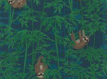 BN Doodleedo 220713 HANGING IN THERE Gyerekszobai bambuszfákon csüngő koalák éjkék zöld kék barna tapéta